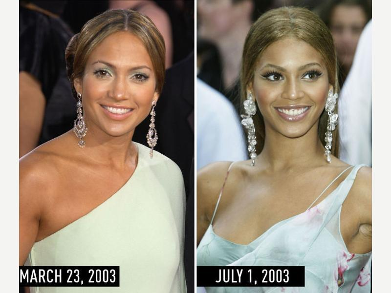 Pale white dress, diamond statement earrings, a center part, and lots of lashes: JLo at the Academy Awards on March 23, 2003. Beyonce at the London premiere of Charlie's Angels: Full Throttle on July 1, 2003. (Pinterest)