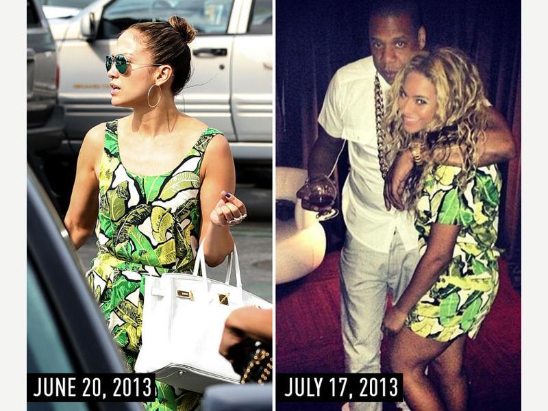 Palm prints. JLo shopping in Hollywood, California, on June 20, 2013. Beyonce on Instagram on July 17, 2013. (Pinterest)