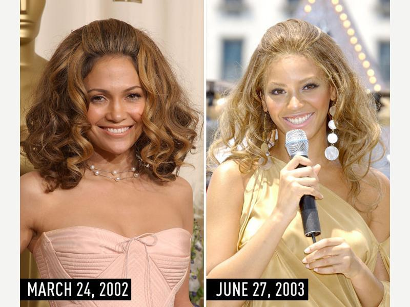 Big hair with brushed-back bangs, a neutral dress, and frosty pink lipstick: JLo at the Academy Awards on March 24, 2002. Beyonce performing on The Early Show on CBS on June 27, 2003. (Pinterest)