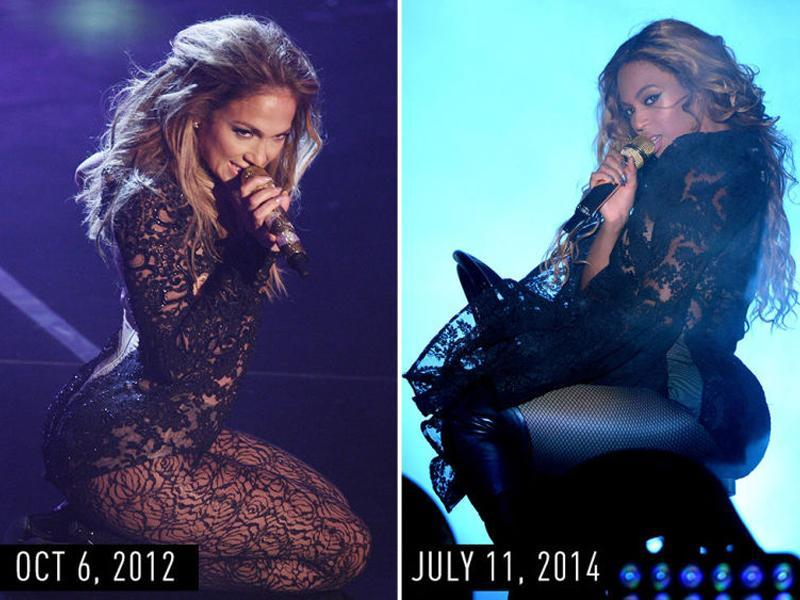 Long-sleeve black lace bodysuit with black stockings, loose waves, and a gold microphone: JLo performing in Germany on Oct 6, 2012. Beyonce performing in New Jersey during her On the Run tour on July 11, 2014. (Pinterest)