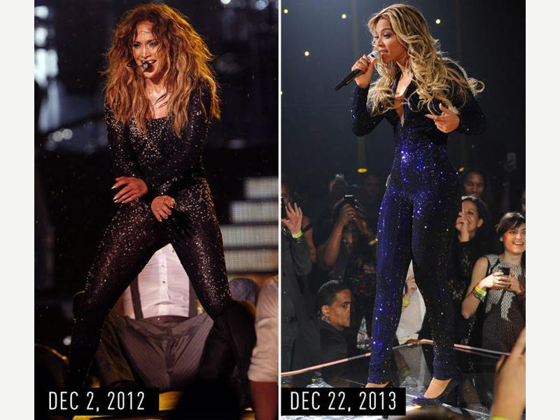 Glittery long-sleeve catsuit with smoky eye makeup and big, wavy hair: JLo performing during her Dance Again world tour in Kuala Lumpur on Dec 2, 2012. Beyonce performing during her The Mrs. Carter Show world tour at the Barclays Center in New York City on De. 22, 2013. (Pinterest)