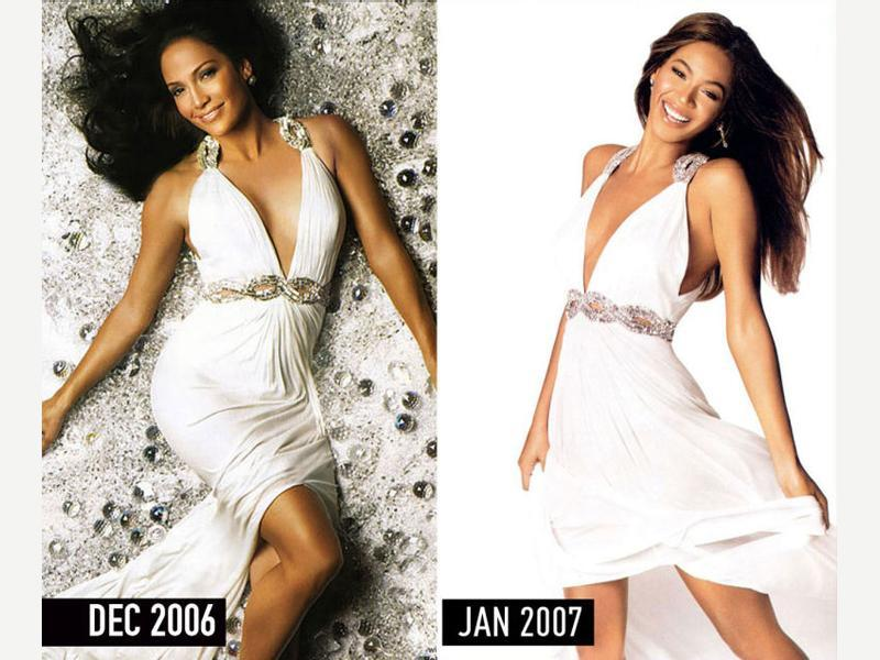 White gown with plunging neckline and crystal embellishments: JLo in the December 2006 issue of Harper's Bazaar. Beyonce in the January 2007 issue of InStyle. (Pinterest)