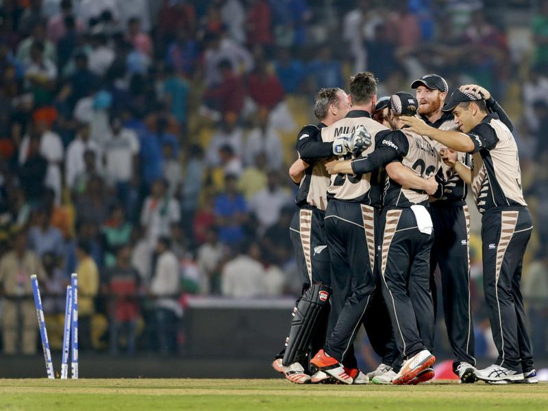 New Zealand players celebrate after their 47-run win.  (AP Photo)