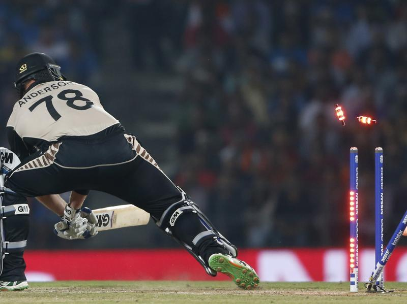 New Zealand's Corey Anderson is bowled by Jasprit Bumrah. (AP Photo)