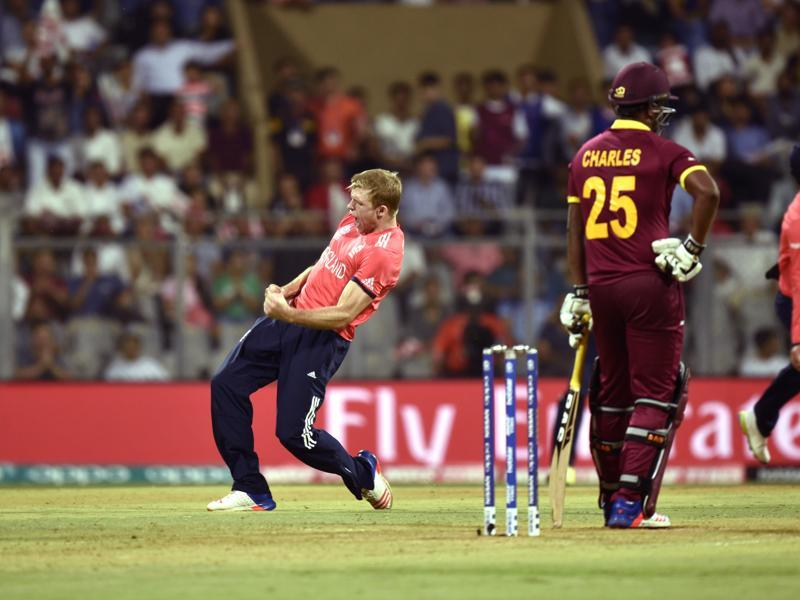 David Willey celebrates after taking the wicket of Johnson Charles. (Arijit Sen/HT Photo)