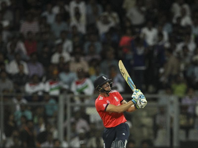 England's Jos Buttler watches his shot that was caught by West Indies' Carlos Braithwaite. (AP Photo)