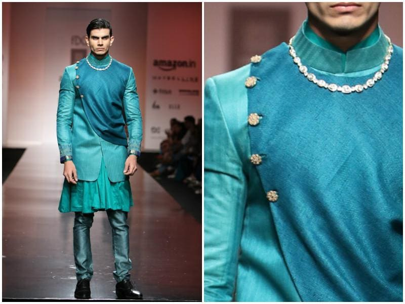 Guys can rock colour too. Blue takes on many moods in this layered ensemble by Virtues by Viral, Ashish & Vikrant. (Raajessh Kashyap/ Hindustan Times)