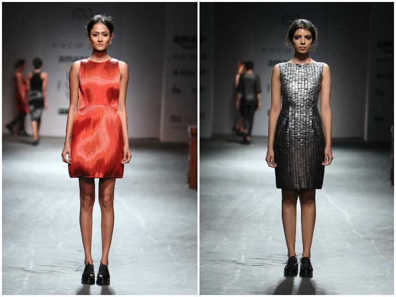 Left: Fluid sheen created 3D hue-play at Rimzim Dadu; right: Metal sheen is officially en vogue for the winter season. Here's a look by Rimzim Dadu proving just that. (Raajessh Kashyap/ Hindustan Times)