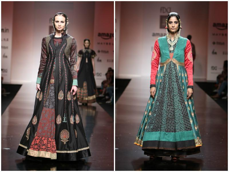 Left: The anarkali makes a stylish entry on the runway for an autumn's day, at Virtues by Viral, Ashish & Vikrant; right: What about a winter's day at a wedding, ladies. Turquoise and red play stylishly in this ensemble by Virtues by Viral, Ashish & Vikrant. (Raajessh Kashyap/ Hindustan Times)