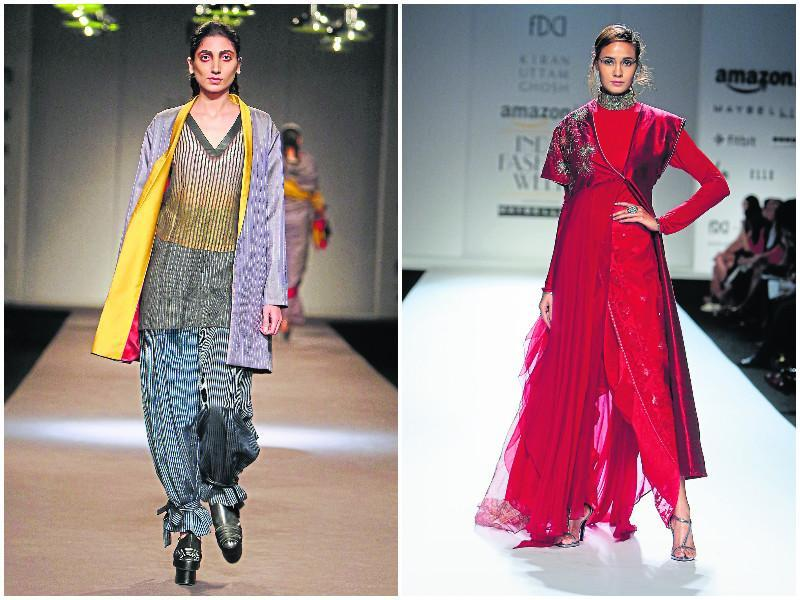 Left: For winter, stock up on handwoven and merino wool pieces to give your wardrobe a refined touch like this Gaurav Jai Gupta piece. Right: Varied lengths, cuts and shapes juxtaposed to add dimension to ethnicwear in this Kiran Uttam Ghosh creation. (HT PHotos)