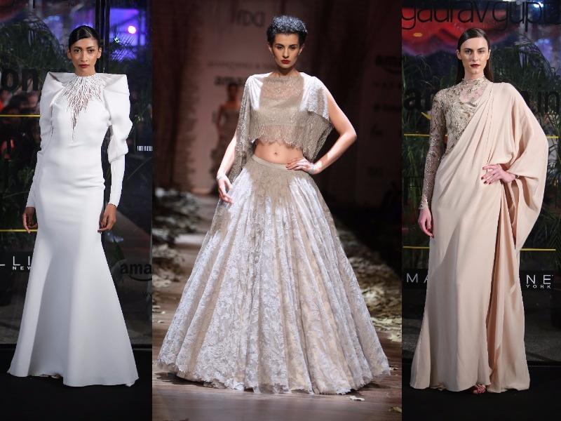 AIFW is off to a strong start, thanks to Hemant-Nandita, Shantanu-Nikhil and Gaurav Gupta. Floral dresses to cut-out jump suits, are our favourite looks .  (HT Photo)