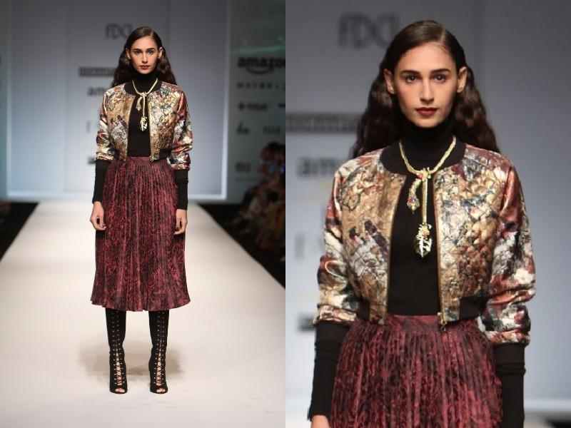 Loved the knife pleats and winter capelets at Hemant-Nandita. (Raajessh Kashyap/HT Photo)