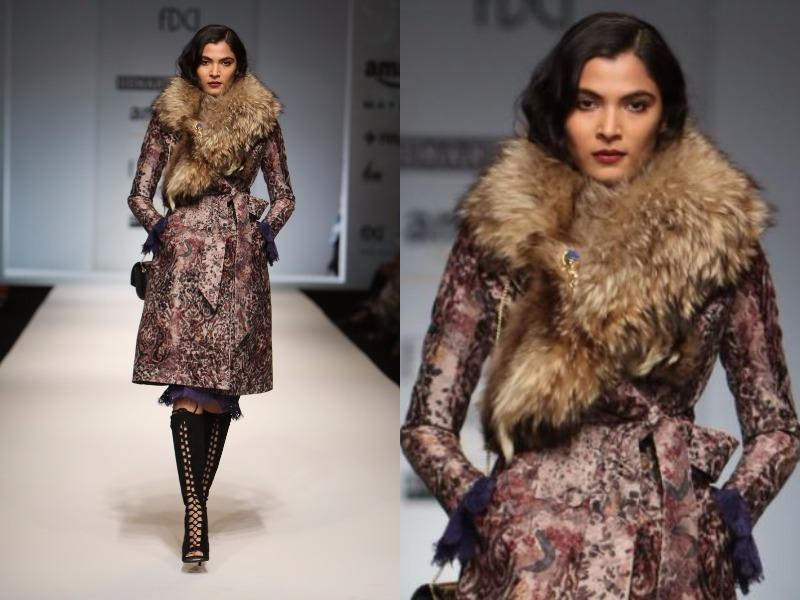 Luxe furs and trench coats made a mark at Hemant-Nandita. (Raajessh Kashyap/HT Photo)
