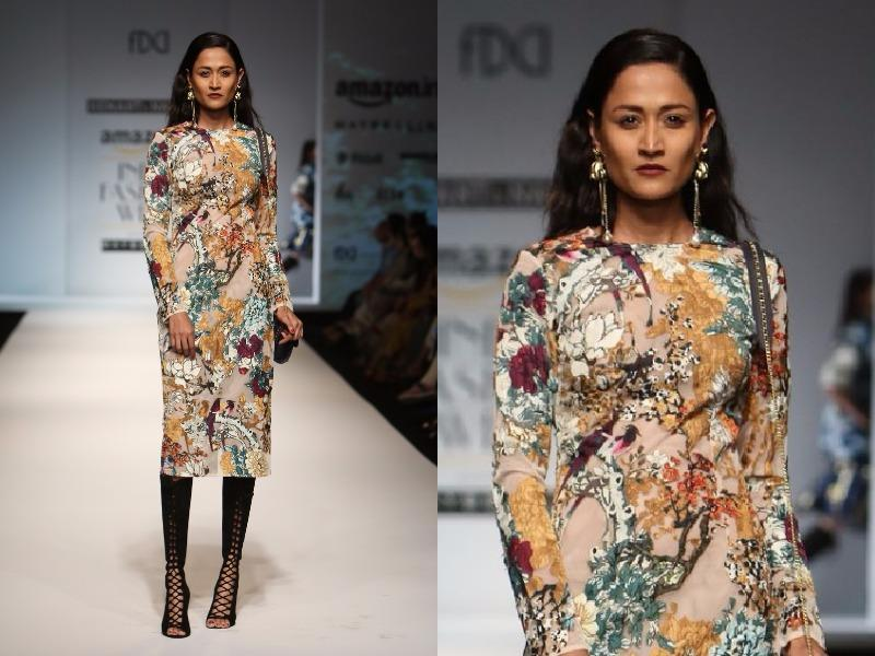 Autumn florals and bird motifs were also seen at Hemant-Nandita. (Raajessh Kashyap/HT Photo)