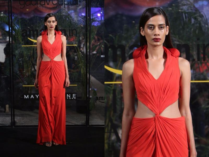 Cut-outs at the waist added glamour to Gaurav Gupta's showcase. (Raajessh Kashyap/HT Photo)