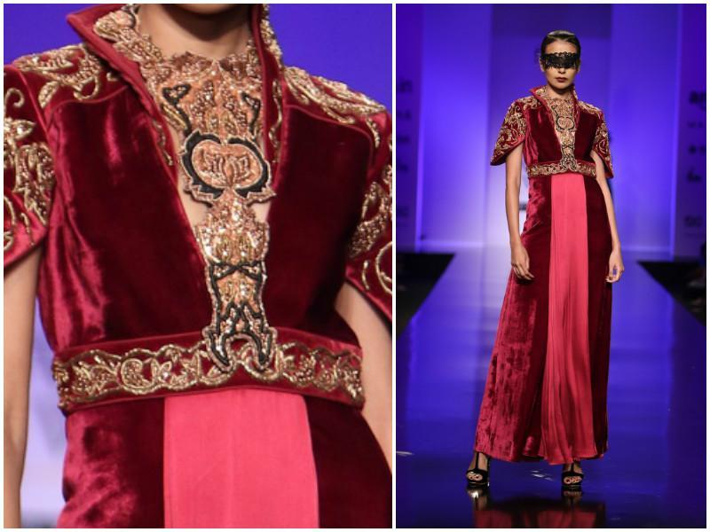 Burgundy-dripped velvets make an appearance at Annaika, as lace-band blinders make for an interesting accessory. (Raajessh Kashyap/ Hindustan Times)