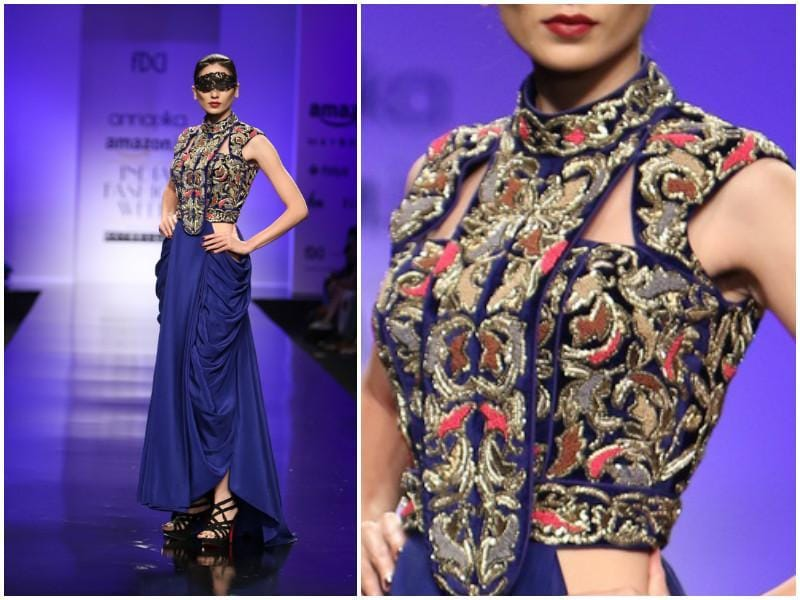 The sari drape gets an update at the Annaika showcase. (Raajessh Kashyap/ Hindustan Times)