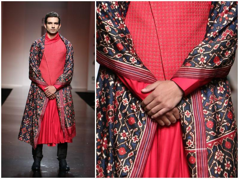 An update for ethnicwear for men. Love the layered look and the pleated kurta at Virtues by Viral, Ashish & Vikrant. (Raajessh Kashyap/ Hindustan Times)