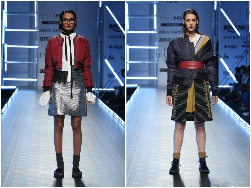 Left: Different worlds melted into one another at Dhruv Kapoor. The Chantilly-lace style waistline caught our eye; right: Dhruv Kapoor teaches us stylish layering with denim hues and cinched waists. (Raajessh Kashyap/ Hindustan Times)