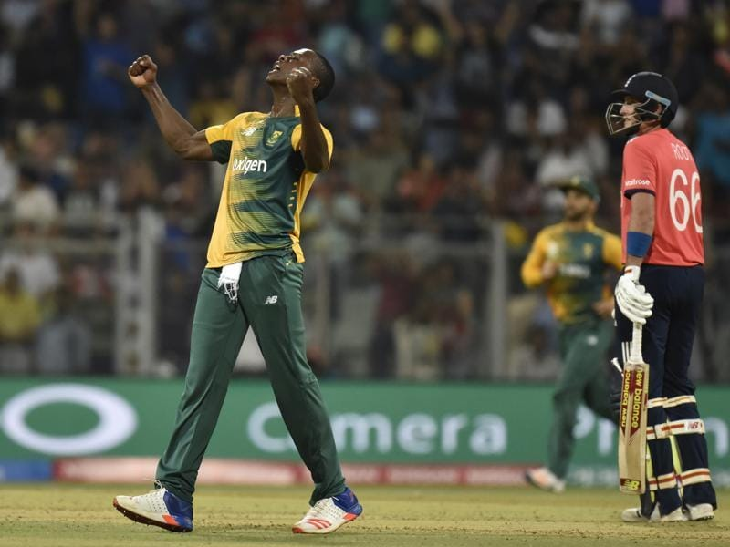 Kagiso Rabada of South Africa celebrates after taking the wicket of Englands' Ben Stokes. (Anshuman Poyrekar/HT Photo)