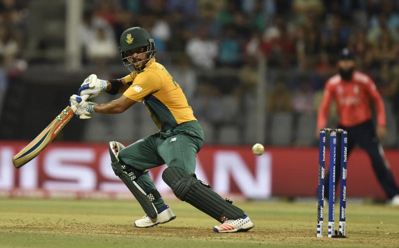 JP Duminy of South Africa hits a shot. (Anshuman Poyrekar/HT Photo)