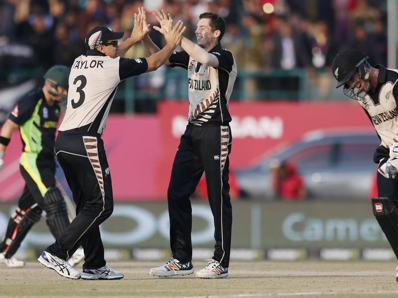 New Zealand's Mitchell Santner is congratulated by teammate's Ross Taylor. (AP Photo)