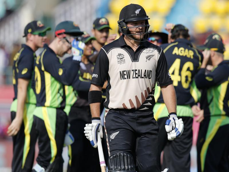 New Zealand's Corey Anderson walks from the field after he was dismissed for three runs. (AP Photo)