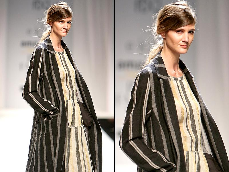 Illusion stripes trended on Eka's runway.  (Raajeesh Kashyap/Hindustan Times)