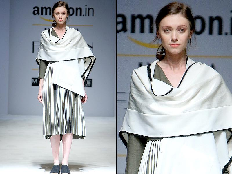 Three dimensional knife pleats stood out in this look by Bodice. (Raajeesh Kashyap/Hindustan Times)
