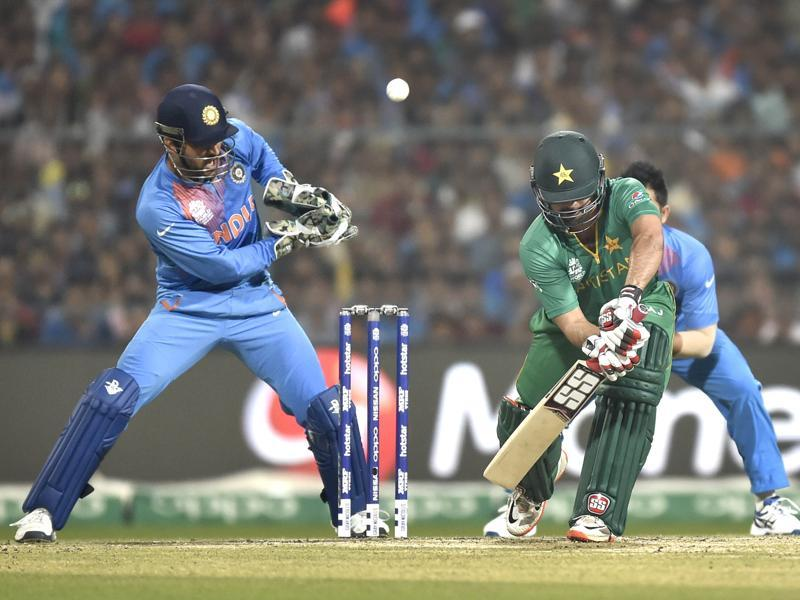 Ahmed Shehzad bats during ICC World Twenty20 contest between India and Pakistan. (Ajay Aggarwal/HT PHoto)