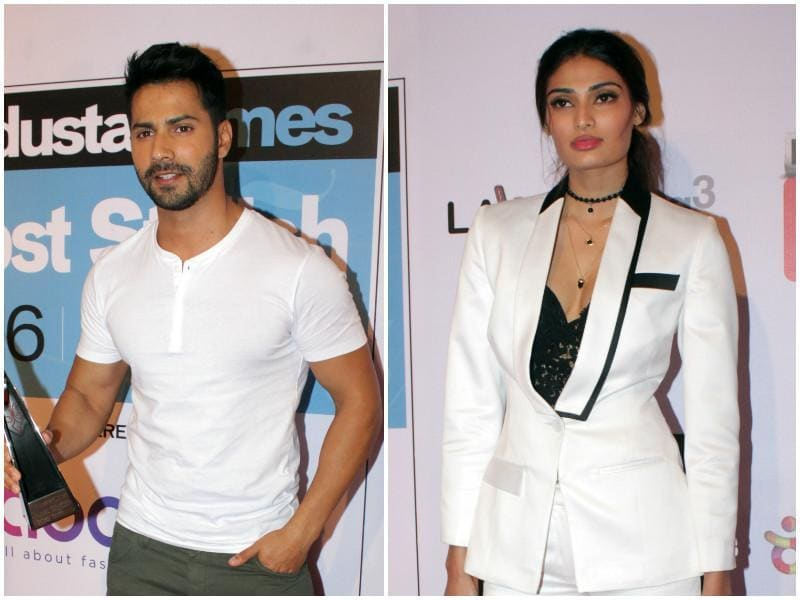 Varun Dhawan and Athiya Shetty were all about wearing whites on the red carpet. (Shakti Yadav/ Hindustan Times)