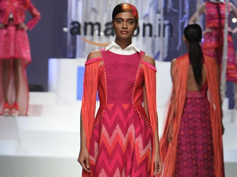 Designer duo Pankaj and Nidhi experimented with a range of pastel colours and prints in their collection. (Raajessh Kashyap/HT)