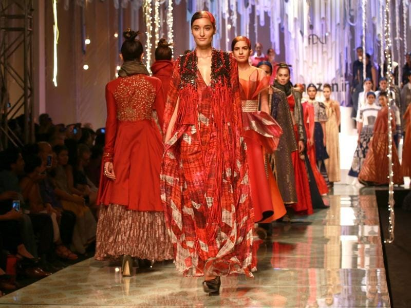 Nine designers, distinct visions and a myriad stories  — all of it was weaved together with 'India Modern' theme at the finale of the Amazon India Fashion Week (AIFW) Autumn-Winter 2016 at the Jawaharlal Nehru Stadium in New Delhi on Sunday. We bring you the best of the creations that dazzled the runway. (IANS)