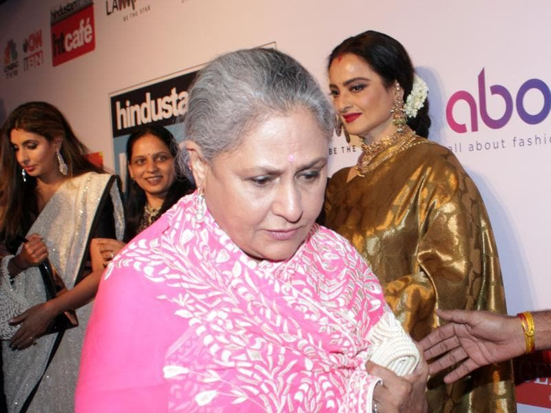 Here she is with Rekha in the background. Sneaky, Mr photographer! (Shakti Yadav/ Hindustan Times)
