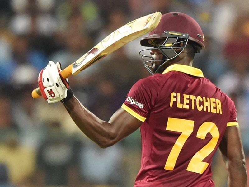 West Indies Andre Fletcher celebrates his fifty runs during the ICC World T20 match. (PTI Photo)