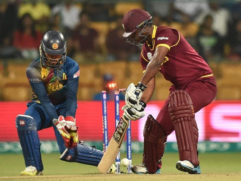 West Indies Jonathan Charles stump rattled by Jeffery Vandersay. (PTI Photo)