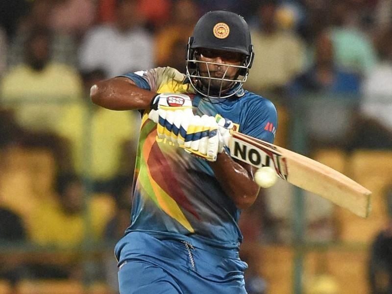 Sri Lanka's Thisara Parera plays a shot during the ICC World T20 match against West Indies. (PTI Photo)