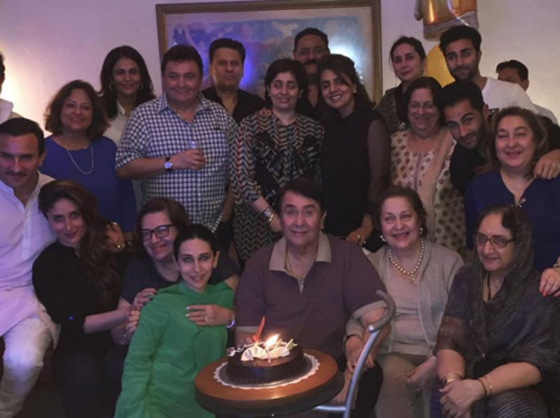 The family that celebrates together... Kapoor khandaan is known for its big lunches and giant celebrations. Kareena and Karisma celebrate dad Randhir's birthday.