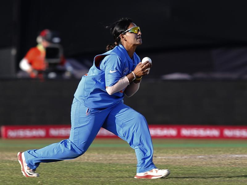 India's Anuja Patil takes a catch to dismiss England's Tamsin Beaumont. (AP)