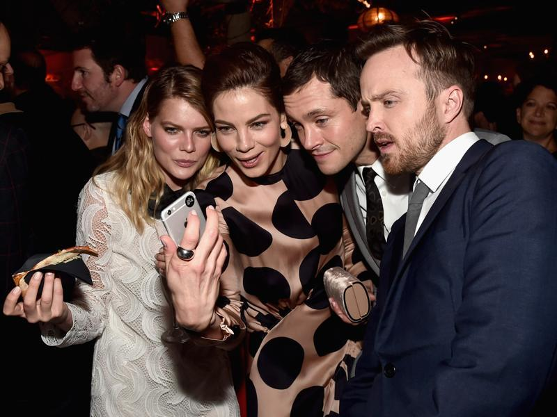 Actors Emma Greenwell, Michelle Monaghan, Hugh Dancy and Aaron Paul attend the after party for the premiere of Hulu's The Path at ArcLight Hollywood. (AFP)