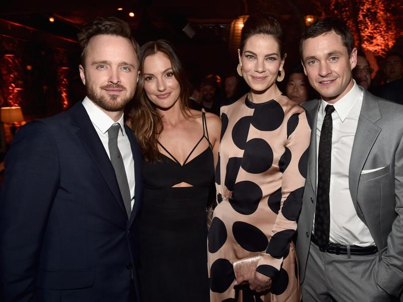 Actors Aaron Paul, Minka Kelley, Michelle Monaghan and Hugh Dancy attend the after party for the premiere of Hulu's new drama show The Path. (AFP)