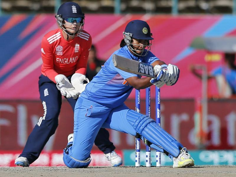 India's Shikha Pandey hits a reverse sweep. (AP)
