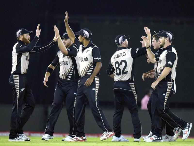 New Zealand players celebrating after the dismissal of Shahid Afridi. (Ravi Kumar/HT Photo)