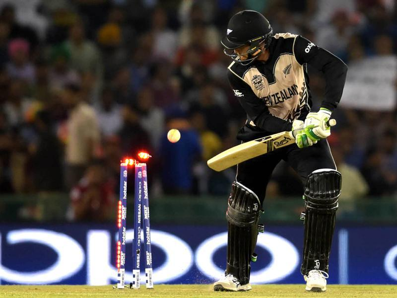Martin Guptill of New Zealand team after his dismissal during the World cup match.  (Ravi Kumar/HT Photo)
