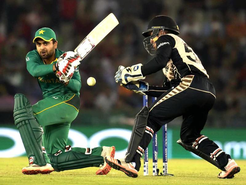 Ahmed Shehzad of Pakistan team play a shot against New Zealand. (Ravi Kumar/HT Photo)