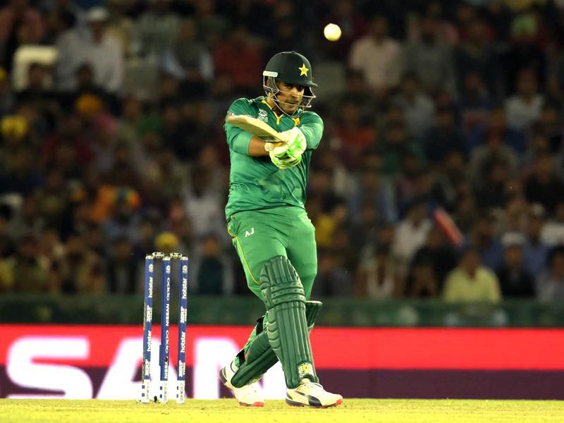 Sharjeel khan of Pakistan team plays a shot against New Zealand.  (Ravi Kumar/HT Photo)
