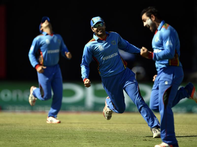 Afghanistan's Mohammad Nabi celebrates the wicket of Ben Stokes. (Mohd Zakir/HT Photo)