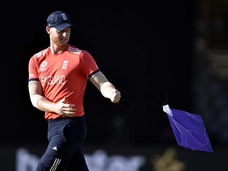 Ben Stokes walks off the field with the kite. (Mohd Zakir/HT Photo)