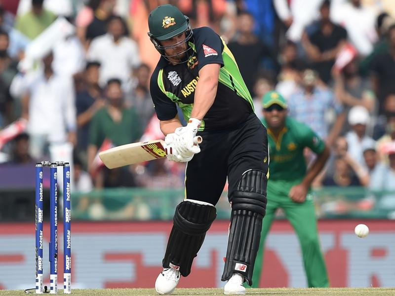 Australia's Aaron Finch plays a shot during the World T20 cricket tournament match between Australia and Pakistan. (AFP Photo)