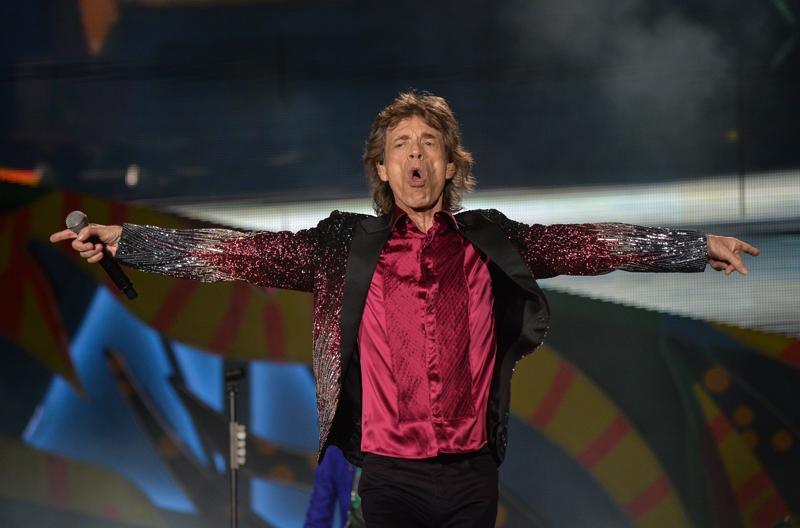 Mick Jagger poses during the finale encore. (AFP Photo)